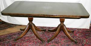 11084 BAKER INLAID MAHOGANY PEDESTAL DINING TABLE