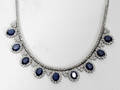 120078 GOLD 17CT SAPPHIRES  5CT DIAMONDS NECKLACE