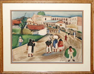 102111 CHARLES CULVER WATERCOLOR MEXICAN MARKET DAY