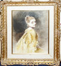 122149 GUSTAVE JEAN JACQUET WATERCOLOR YOUNG WOMAN