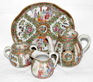 111261 CHINESE ROSE MEDALLION PORCELAIN TEA SET