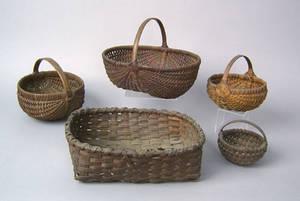 Five woven splint baskets 19th c