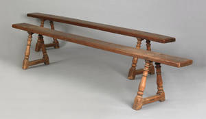 Pair of William  Mary fruitwood mortised benches early 18th c