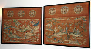 102144 SILK EMBROIDERED CHINESE WALL HANGINGS
