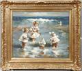 090075 OIL ON CANVAS CHILDREN AT BEACH