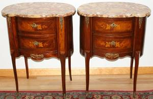 092071 LOUIS XV STYLE WALNUT MARBLE TOP COMMODES