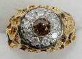 12140 14KT GOLD  CHAMPAGNE DIAMOND GENTS RING