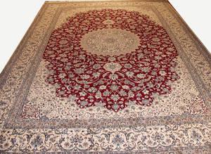 122178 PERSIAN SILK  WOOL RUG 16 5 X 11 3