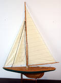 120129 CARVED WOOD SHIP MODEL CUTTER RIG SAILBOAT