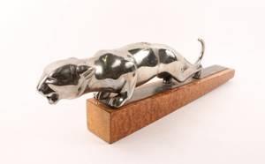 Art Deco Chrome Panther or Jaguar Sculpture