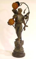 112104 SPELTER SCULPTURE BOUCHERON  TABLE LAMP
