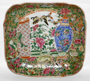 111275 CHINESE ROSE MEDALLION PORCELAIN SQUARE DISH