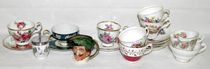 110149 ENGLISH PORCELAIN TEA CUPS  SAUCERS CODDLERS