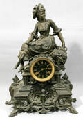 101169 FRENCH SPELTER CLOCK ON FOOTED BASE