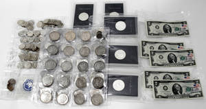 090106 UNCIRCULATED SILVER COINS  2 PAPER CURRENCY
