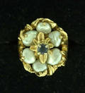 122204 14K GOLD SAPPHIRE  BAROQUE PEARL LADYS RING