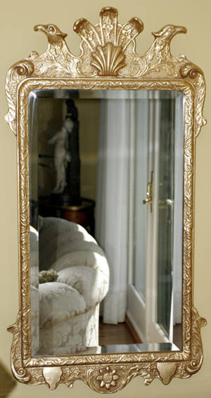 121216 GEORGIAN STYLE GILT BEVELED WALL MIRROR