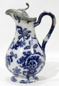 111334 ENGLISH FLOW BLUE POTTERY EWER W PEWTER COVER