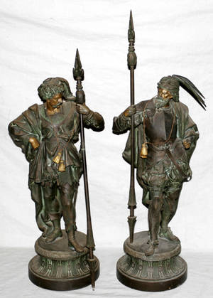 110185 FRENCH SPELTER SCULPTURES OF CONQUISTADORS