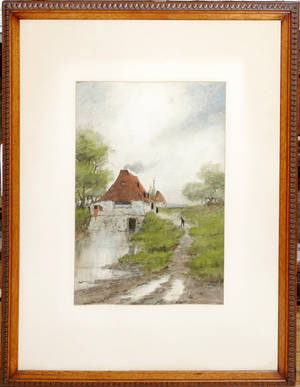 110184 ENGLISH WATERCOLOR COTTAGE IN LANDSCAPE