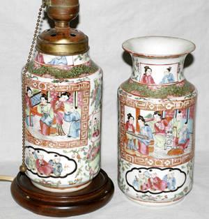 110178 CHINESE ROSE MEDALLION PORCELAIN URN  LAMP