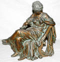 110176 CLASSICAL STYLE SPELTER FIGURE SEATED WOMAN