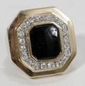102226 LADYS YELLOW GOLD DIAMOND  BLACK ONYX RING