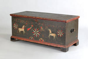Pennsylvania painted pine dower chest dated 1788
