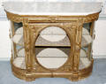 092134 FRENCH STYLE GILT WOOD CABINET W MARBLE TOP