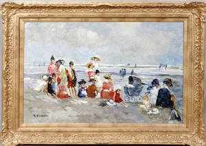 091152 IMPRESSIONIST STYLE OIL ON CANVAS BEACH SCENE