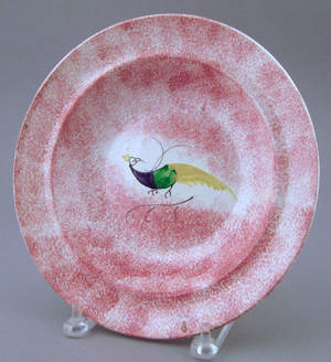 Red spatter soup bowl 19th c