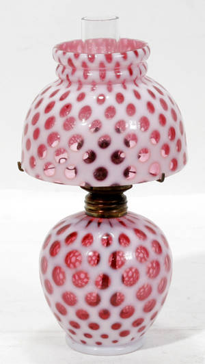 11233 VICTORIAN CRANBERRY  OPAL GLASS FAIRY LAMP