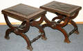 10204 CURULE STYLE WALNUT BENCHES H 18 L 185