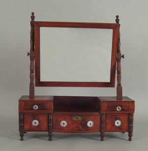 New England Sheraton mahogany shaving mirror ca 1820