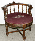 112192 ENGLISH CARVED WALNUT NEEDLEPOINT CHAIR