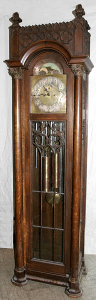 112183 ELLIOT GOTHIC REVIVAL STYLE GRANDFATHER CLOCK