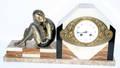 100139 ART DECO ONYX  MARBLE MANTEL CLOCK