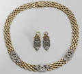 092159 YELLOW GOLD  DIAMOND NECKLACE  EARRINGS