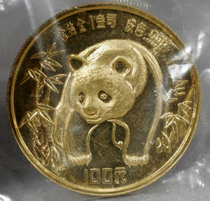 090208 CHINESE 100 YUAN PANDATEMPLE GOLD COIN
