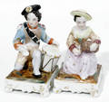 12228 ENGLISH PORCELAIN FIGURAL QUILL STANDS H 45