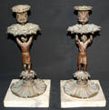10246 BRONZE PATINA CANDLE STICKS ON MARBLE BASES
