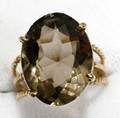 100192 SMOKY TOPAZ  YELLOW GOLD LADIES RING