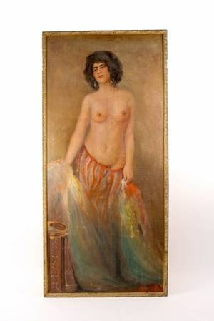 Large Orientalist Style Female Nude Oil Painting