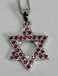 090250 STAR OF DAVID RUBY  WHITE GOLD NECKLACE