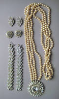 Trifari rhinestone and pearl necklace with matching earrings
