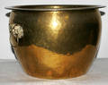 120327 ORIENTAL STYLE BRASS PLANTER W FOO DOG HANDLE