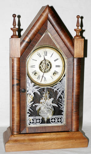 111441 WATERBURY ROSEWOOD  EGLOMAISE STEEPLE CLOCK