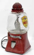 110291 HOBNAIL CRANBERRY GLASS HOT PEANUT MACHINE