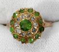 102357 VINTAGE GOLD PERIDOT  DIAMOND RING