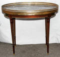 092242 LOUIS XVI STYLE MAHOGANY END TABLES  MARBLE